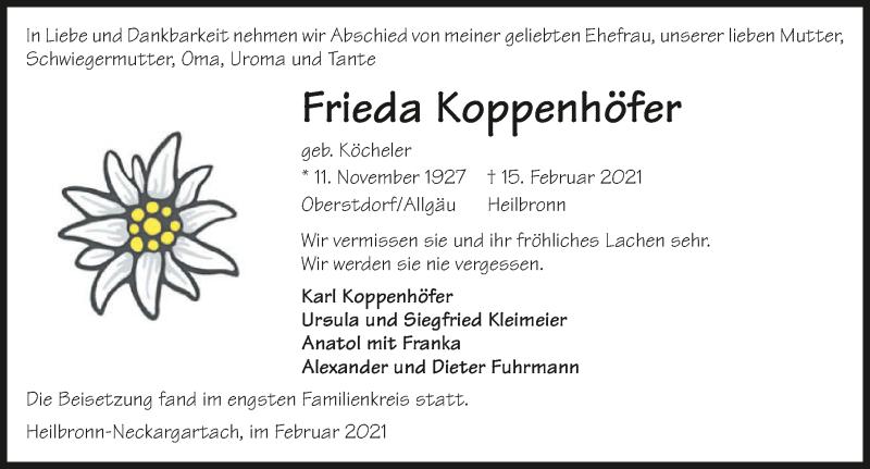 Traueranzeige für Frieda Koppenhöfer vom 27.02.2021 aus GESAMT