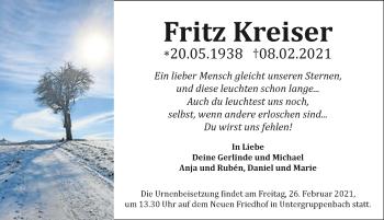 Traueranzeige von Fritz Kreiser von GESAMT