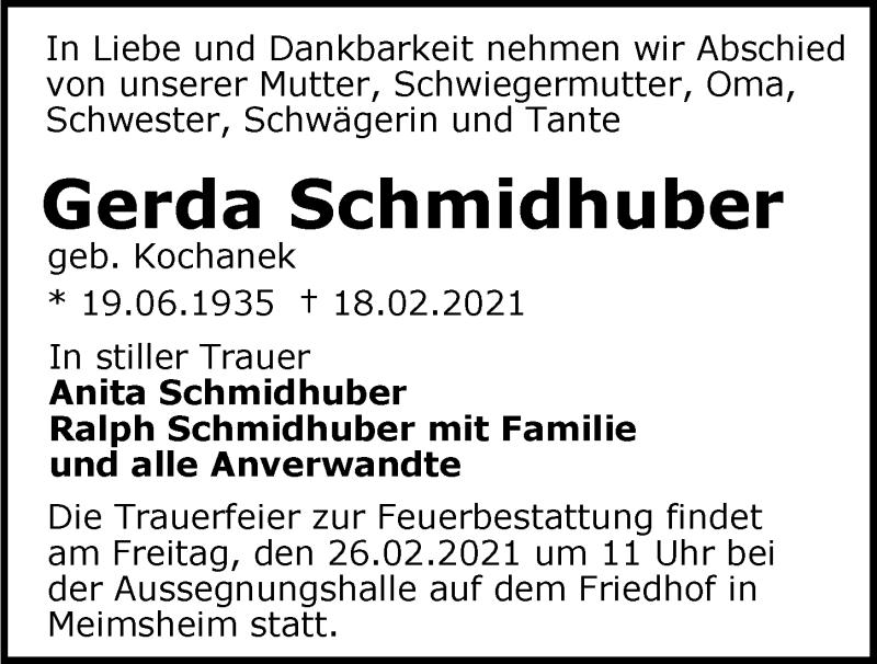 Traueranzeige für Gerda Schmidhuber vom 23.02.2021 aus GESAMT