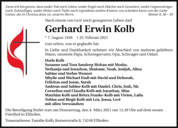 Traueranzeige von Gerhard Erwin Kolb von GESAMT