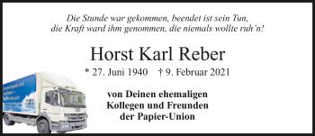 Traueranzeige von Horst Reber von GESAMT