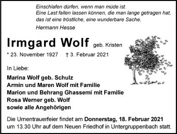 Traueranzeige von Irmgard Wolf von GESAMT