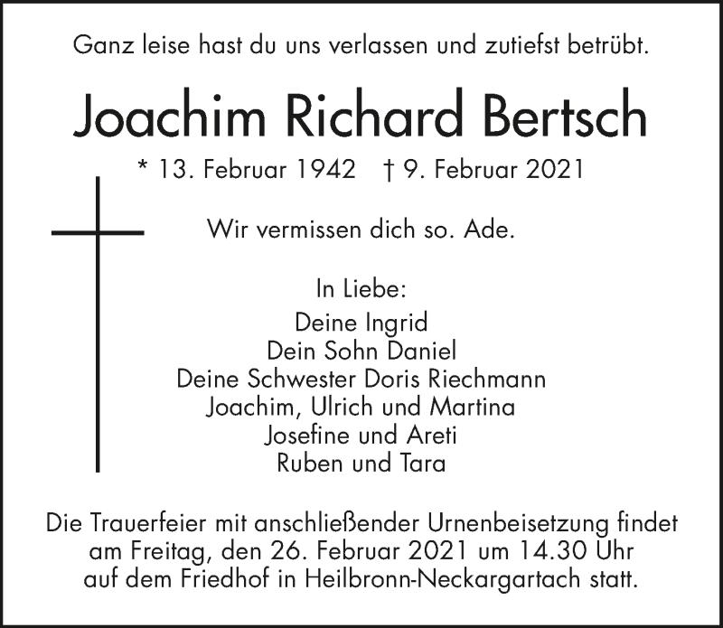 Traueranzeige für Joachim Bertsch vom 17.02.2021 aus GESAMT