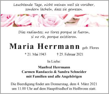 Traueranzeige von Maria Hermann von GESAMT
