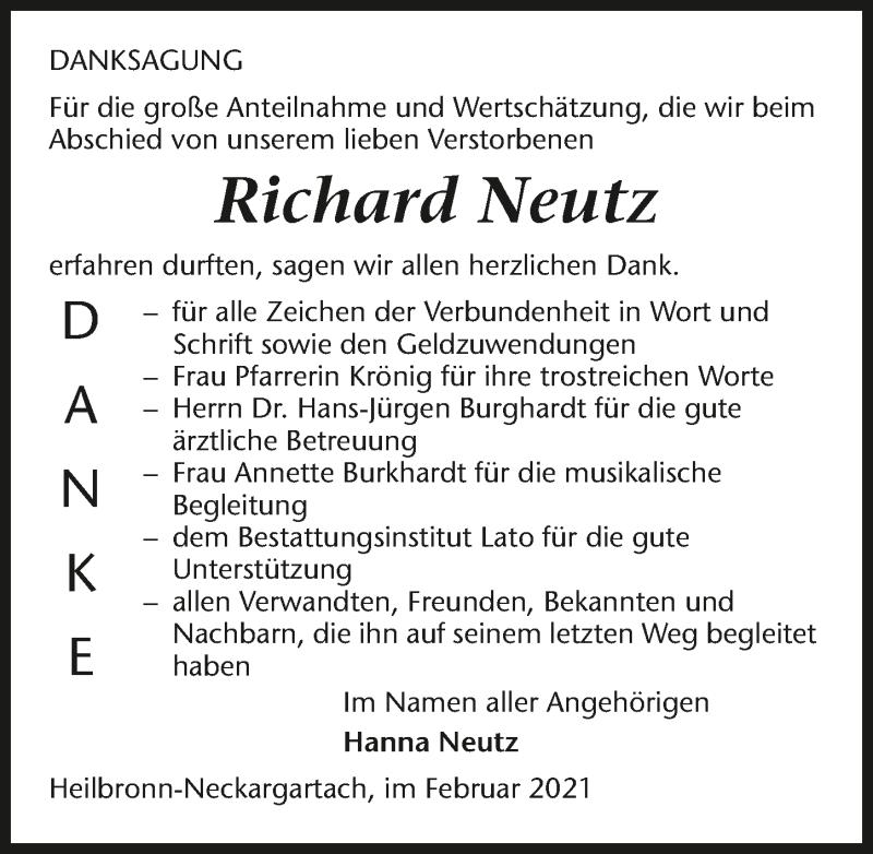 Traueranzeige für Richard Neutz vom 12.02.2021 aus GESAMT