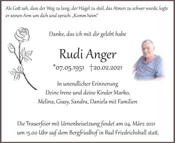 Traueranzeige von Rudi Anger von GESAMT