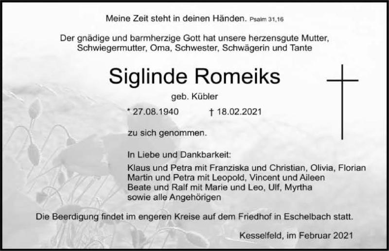 Traueranzeige für Siglinde Romeiks vom 23.02.2021 aus GESAMT