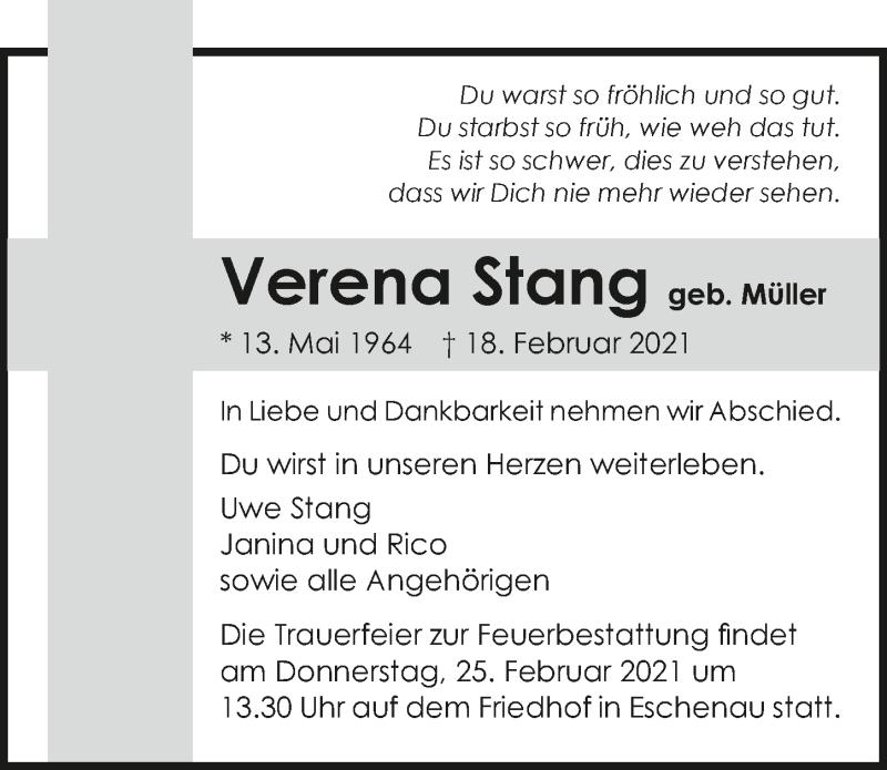 Traueranzeige für Verena Stang vom 20.02.2021 aus GESAMT