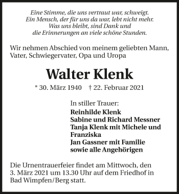 Traueranzeige von Walter Klenk von GESAMT
