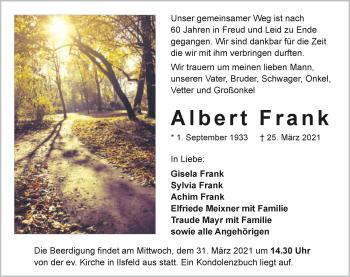 Traueranzeige von Albert Frank von GESAMT
