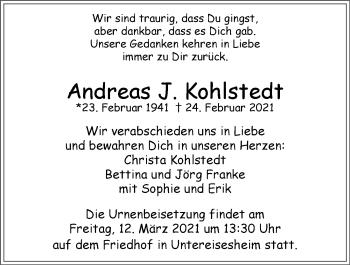 Traueranzeige von Andreas J. Kohlstedt von GESAMT