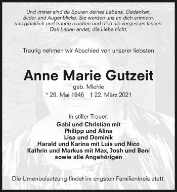 Traueranzeige von Anne Marie Gutzeit von GESAMT