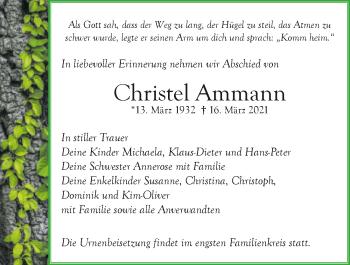Traueranzeige von Christel Ammann von GESAMT