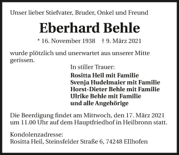 Traueranzeige von Eberhard Behle von GESAMT