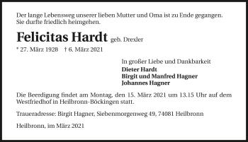 Traueranzeige von Felicitas Hardt von GESAMT