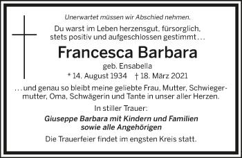 Traueranzeige von Francesca Barbara von GESAMT