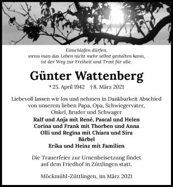 Traueranzeige von Günter Wattenberg von GESAMT