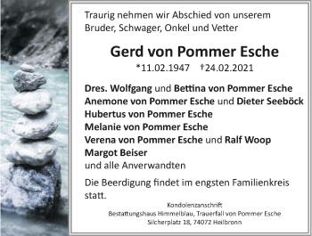 Traueranzeige von Gerd von Pommer Esche von GESAMT