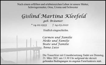 Traueranzeige von Gislind Martina Kleefeld von GESAMT