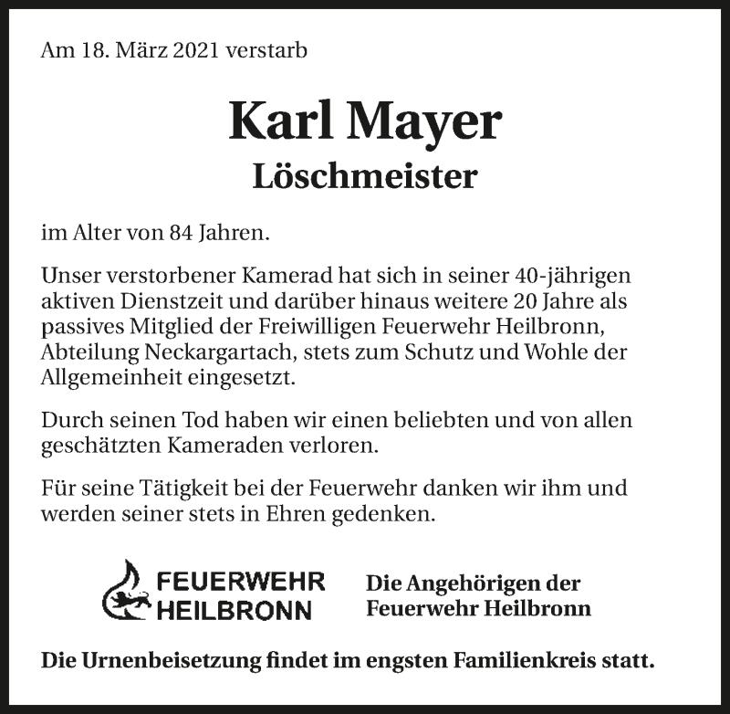 Traueranzeige für Karl Wilhelm Mayer vom 27.03.2021 aus GESAMT