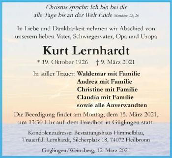 Traueranzeige von Kurt Lernhardt von GESAMT