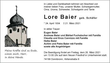 Traueranzeige von Lore Baier von GESAMT