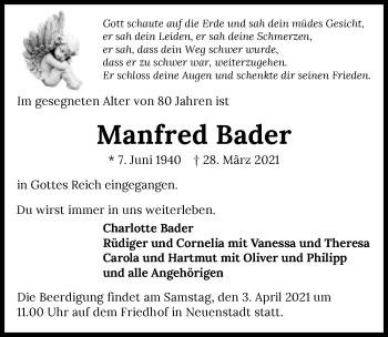 Traueranzeige von Manfred Bader von GESAMT