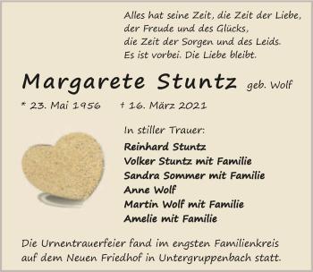 Traueranzeige von Margarete Stuntz von GESAMT