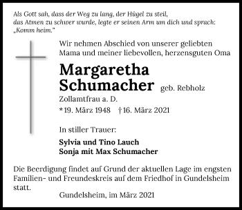Traueranzeige von Margaretha Schumacher von GESAMT