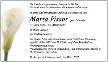 Traueranzeige von Marta Pissot von GESAMT