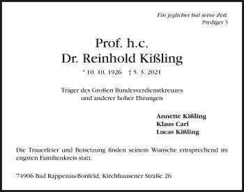 Traueranzeige von Reinhold Kißling von GESAMT