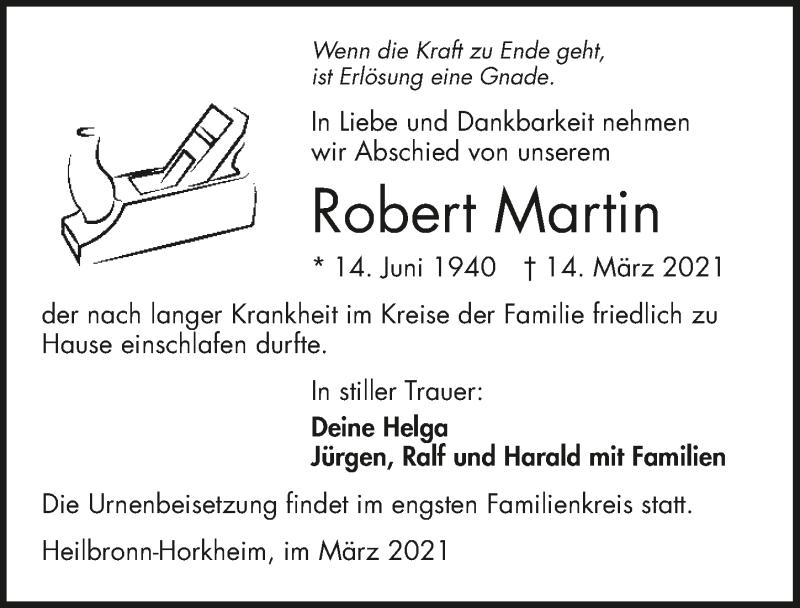 Traueranzeige für Robert Martin vom 20.03.2021 aus GESAMT