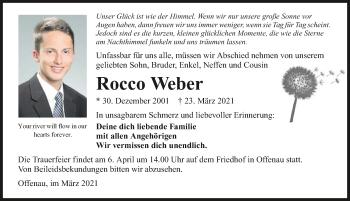 Traueranzeige von Rocco Weber von GESAMT