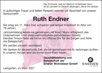 Traueranzeige von Ruth Endner von GESAMT