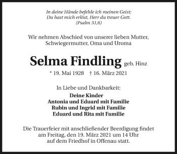 Traueranzeige von Selma Findling von GESAMT