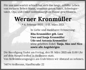 Traueranzeige von Werner Kronmüller von GESAMT