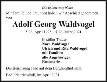 Traueranzeige von Adolf Waldvogel von GESAMT