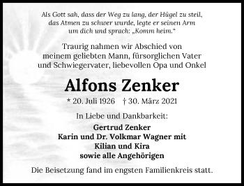 Traueranzeige von Alfons Zenker von GESAMT