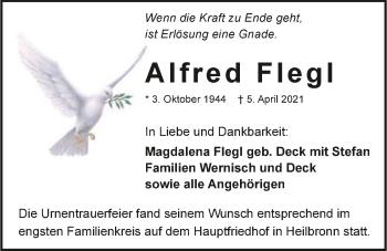 Traueranzeige von Alfred Flegl von GESAMT