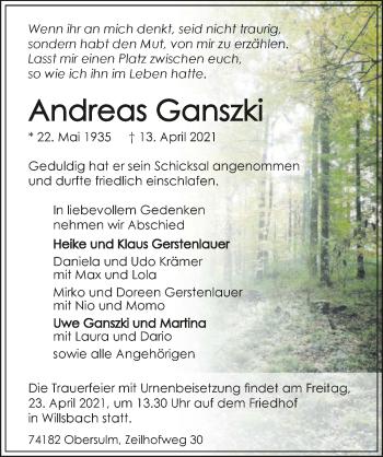 Traueranzeige von Andreas Ganszki von GESAMT