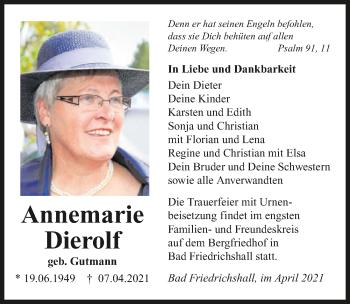 Traueranzeige von Annemarie Dierolf von GESAMT