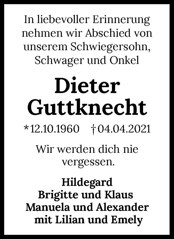 Traueranzeige für Dieter Guttknecht vom 07.04.2021 aus GESAMT