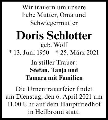 Traueranzeige von Doris Schlotter von GESAMT