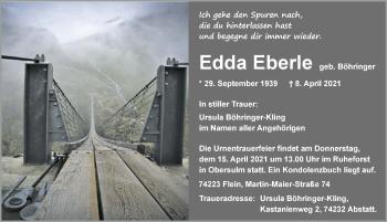 Traueranzeige von Edda Eberle von GESAMT