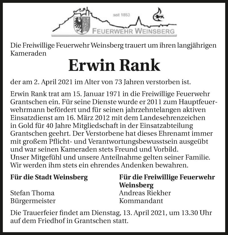 Traueranzeige für Erwin Rank vom 10.04.2021 aus GESAMT