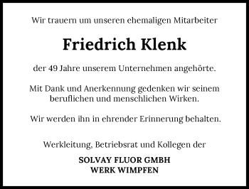 Traueranzeige von Friedrich Klenk von GESAMT