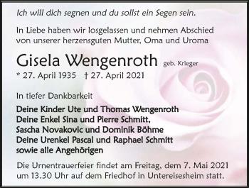 Traueranzeige von Gisela Wengenroth von GESAMT