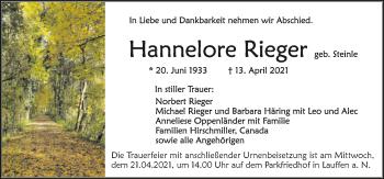 Traueranzeige von Hannelore Rieger von GESAMT