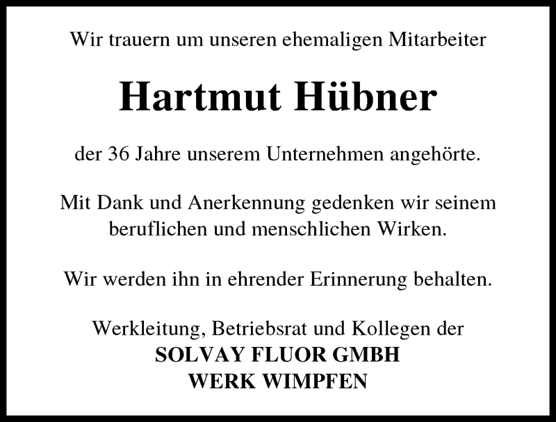 Traueranzeige für Hartmut Hübner vom 08.04.2021 aus GESAMT