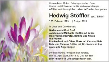 Traueranzeige von Hedwig Stöffler von GESAMT